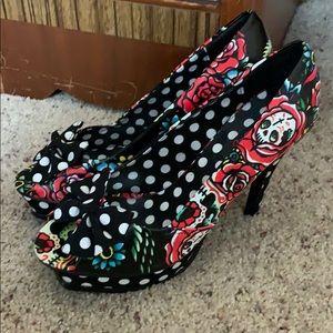 Iron fist skull roses polka dot heels 8